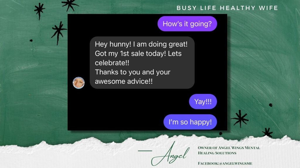 Angel Client Testimonial for Busy Life Healthy Wife on the Building Businesses That Wow Page   Business Coaching for women
